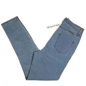 Minkpink High Waist Skinny Jeans Light Wash Blue